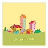 Piccolo villaggio dipinto nello stile del fumetto Immagini Stock