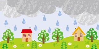 Piccolo villaggio il giorno piovoso royalty illustrazione gratis
