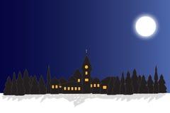 Piccolo villaggio in inverno illustrazione di stock