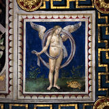 The Piccolomini library, Duomo of Siena, Italy. SIENA, ITALY, october 30, 2016 : Detail of the ceiling painting of the Piccolomini library at the duomo cathedral Royalty Free Stock Photos