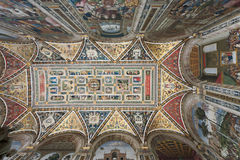 Piccolomini Library in Siena. Ceiling of the famous Piccolomini Library within Siena Cathedral stock image
