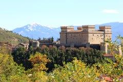 Piccolomini slott i Celano, Italien Arkivfoto