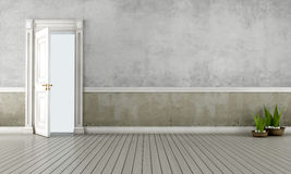 Pièce de cru avec la porte ouverte Photo stock
