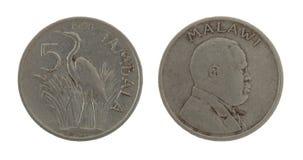 Pièce de monnaie malawienne d'isolement sur le blanc Images stock