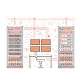 Pièce et centre de traitement des données de serveur Photo libre de droits