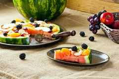 Pice of fruit pizza Royalty Free Stock Image