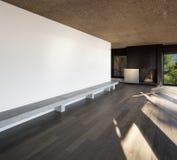 Pièce à la maison et vide avec le plancher de parquet Photographie stock