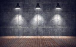 Pièce vide avec des lampes plancher en bois et mur de tuiles en béton Images libres de droits
