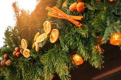 Picea de la decoración de la Navidad Foco selectivo Concepto del día de fiesta Imagen de archivo libre de regalías