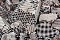 Pices of broken catalytic converter. Pieces part of car catalytic converter having platinum, rhodium, palladium Stock Images