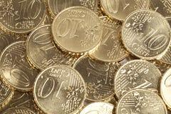 10 pièces de monnaie d'euro cent Images libres de droits
