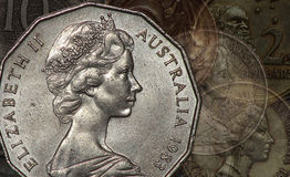 Pièces de monnaie de l'Australie Photo stock