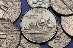 Pièces de monnaie des Etats-Unis Quart d'état des USA 50 Images libres de droits