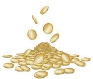 Pièces de monnaie en baisse Photos libres de droits