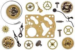 Pièces de rechange pour l'horloge Vitesses en métal, roues dentées et d'autres détails Photographie stock