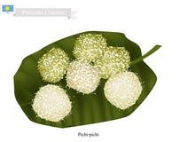 Pichi-Pichi或Palauan点心由椰子和被磨碎的木薯制成 向量例证