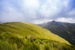 Pichincha, Ecuador September 18, 2017: Panoramic view at the Pichincha volcano, located just to the side of Quito, which Royalty Free Stock Photography
