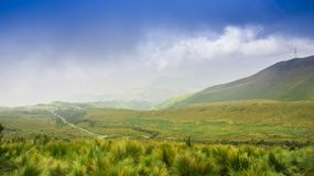 Pichincha, Ecuador September 18, 2017: Panoramic view at the Pichincha volcano, located just to the side of Quito, which Stock Photos