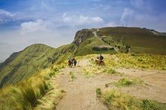 Pichincha Ecuador September 18, 2017: Turist som rider en häst på överkanten av det Pichincha berget med en panoramautsikt Royaltyfri Foto