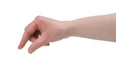 Piching Finger der Frau Stockfoto