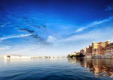 Pichola lake in India Udaipur Rajasthan. Maharajah palace. And Taj Lake Palace view. Beautiful panoramic photography of lake water and sky Stock Image