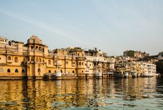 Pichola Lake, Udaipur, Rajastan. Pichola Lake is one of the most beautiful and picturesque lakes of Rajasthan, India. It is the oldest and largest artificial Stock Photo
