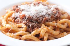 Pici pasta with lamb ragu. And parmesan cheese Royalty Free Stock Photography