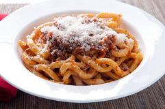 Pici pasta with lamb ragu Royalty Free Stock Image