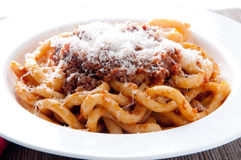 Pici pasta with lamb ragu Royalty Free Stock Photos