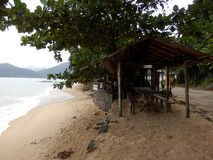 Picinguaba Beach and village in Sao Paulo State stock photos