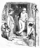The pick-pocket in a London street scene. Engraving of a boy pick-pocketing a man in a London street scene during the Victorian era. From an original engraving Royalty Free Stock Image