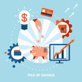 Pick of savings. Banking vector eps10 illustration. Pick of savings. Money falling in piggy bank Royalty Free Stock Photos