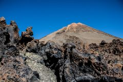 Pick of the Teide volcano in Tenerife. Pico del Teide in Tenerife, Islas Canarias, Spain. View from the down royalty free stock photography