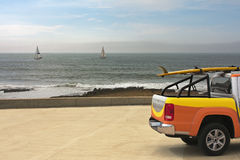 Pick-up car at the beach Royalty Free Stock Images