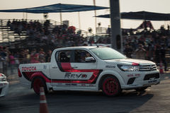 Pick-up car perform drifting on the track with motion blur Royalty Free Stock Image