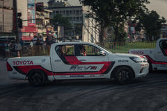 Pick-up car perform drifting on the track with motion blur Royalty Free Stock Images