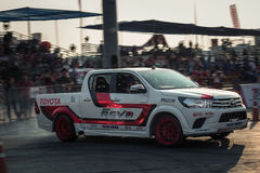 Pick-up car perform drifting on the track with motion blur Stock Photography