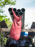 Pick-up carrying long metal pipe Royalty Free Stock Images