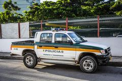 Pick-up Cops Truck in the Street Royalty Free Stock Photography