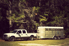 Pick up with horse trailer Royalty Free Stock Photos