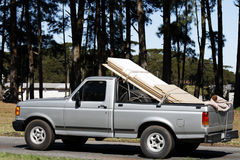 Pick-up loaded. With wood boards Stock Image