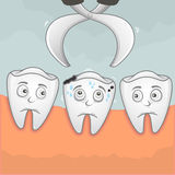 Pick up a tooth. Vector illustration of Pick a toothache up using tweezer Stock Images