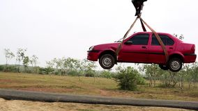 Pick up towed car on tow truck.Emergency towing of car on truck.  stock footage