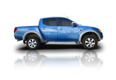 Pick-up Truck. Blue pick-up truck isolated on white with reflexion royalty free stock photos