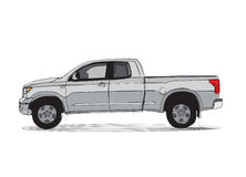 Pick-up truck cartoon style drawing royalty free illustration