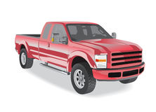 Pick-up truck red isolated Stock Photos