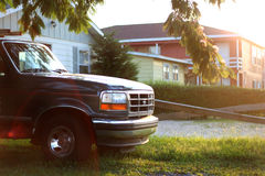 Pick-up truck suburb royalty free stock images