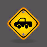 Pick up truck yellow road street sign Stock Photography