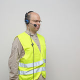 Pick by Voice. Control Headset Bald Man Stock Photography