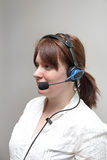 Pick by Voice. Wired Headset Woman Worker Royalty Free Stock Image